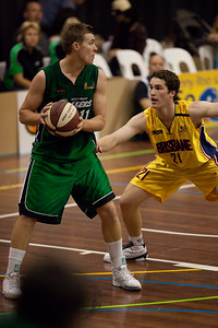 Dave Gurney, Jarrod Bairstow - QBL Quarter Final Basketball: Gold Coast Rollers v Brisbane Capitals; Carrara, Gold Coast, Queensland, Australia. Photos by Des Thureson:  http://disci.smugmug.com.
