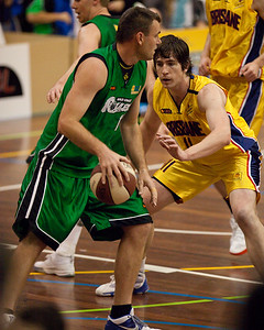Scott McGregor, Matthew Roberts - QBL Quarter Final Basketball: Gold Coast Rollers v Brisbane Capitals; Carrara, Gold Coast, Queensland, Australia. Photos by Des Thureson:  http://disci.smugmug.com.