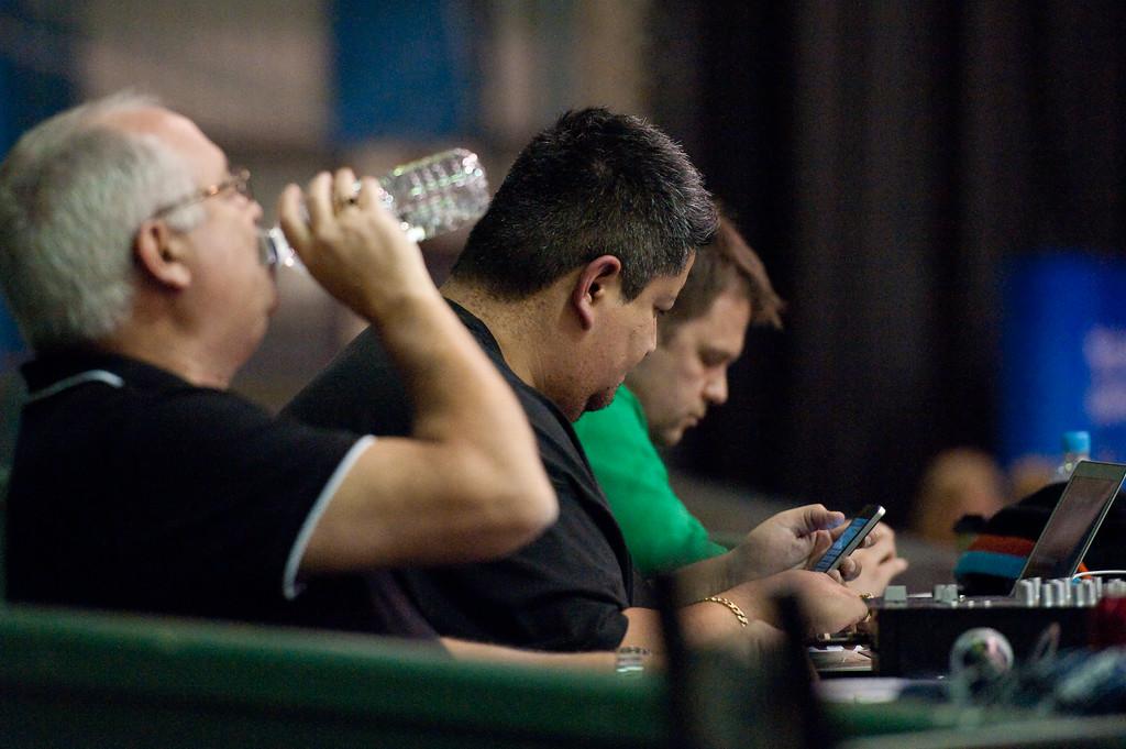 "Big Joe with his new iPhone?? - QBL Quarter Final Basketball: Gold Coast Rollers v Brisbane Capitals; Carrara, Gold Coast, Queensland, Australia. Photos by Des Thureson:  <a href=""http://disci.smugmug.com"">http://disci.smugmug.com</a>."