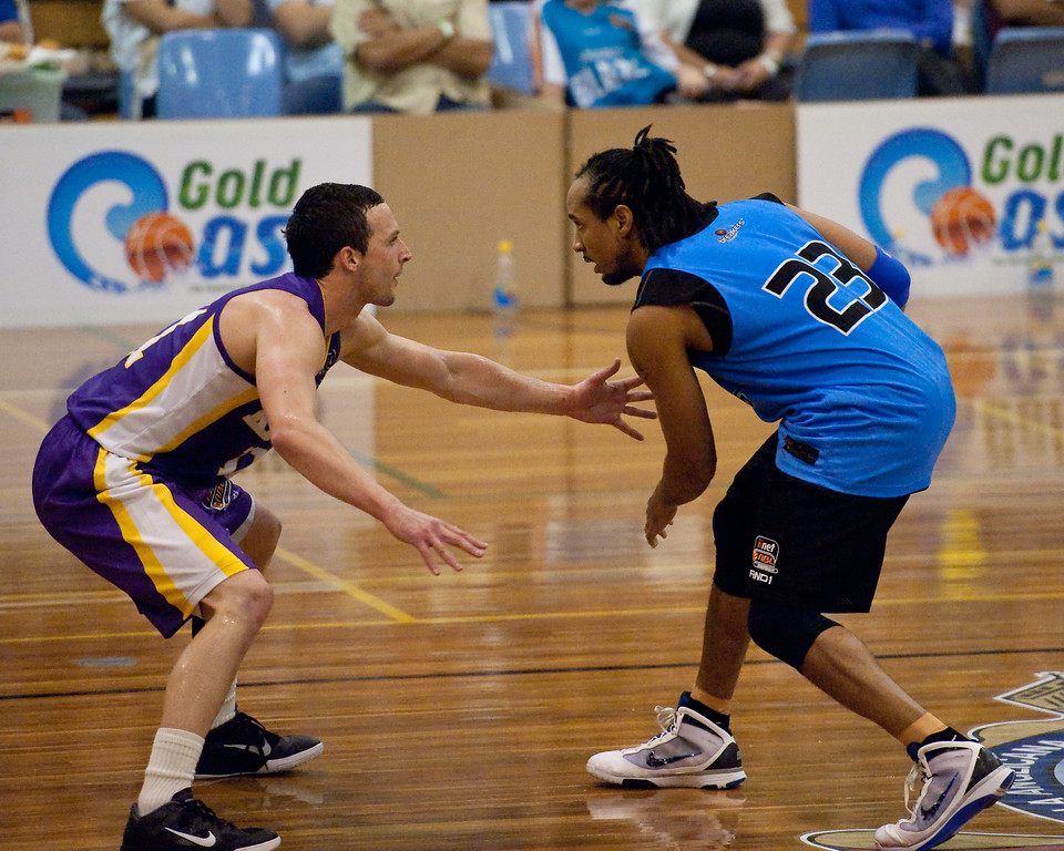 "Aaron Bruce, CJ Bruton - Sydney Kings v New Zealand Breakers - Sunshine State Challenge Pre-season NBL Basketball, Southport School, Gold Coast, Queensland, Australia; 22 September 2011. Photos by Des Thureson:  <a href=""http://disci.smugmug.com"">http://disci.smugmug.com</a>."