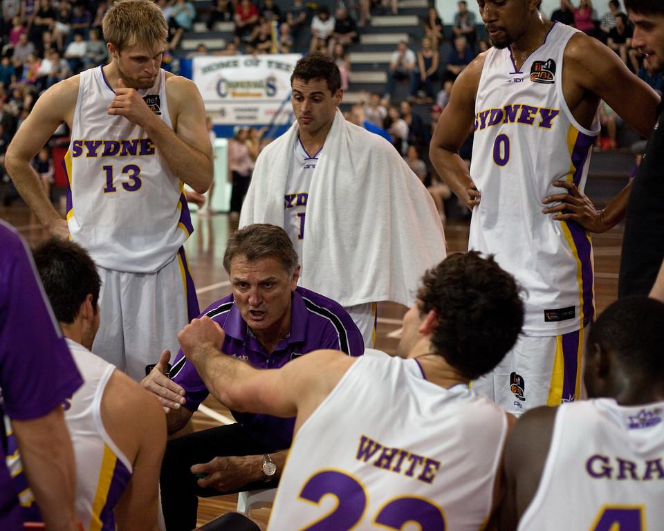 "Kings' Head Coach Ian ""Moose"" Robilliard - Sydney Kings v Adelaide Sixers - Sunshine State Challenge Pre-season NBL Basketball, Auchenflower, Brisbane, Queensland, Australia; 23 September 2011. Photos by Des Thureson:  <a href=""http://disci.smugmug.com"">http://disci.smugmug.com</a>."