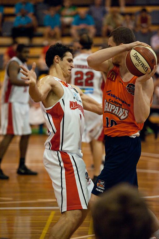 "Oscar Foreman, Jeff Dowdell - Cairns Taipans v Wollongong Hawks - Sunshine State Challenge Pre-season NBL Basketball, Southport School, Gold Coast, Queensland, Australia; 22 September 2011. Photos by Des Thureson:  <a href=""http://disci.smugmug.com"">http://disci.smugmug.com</a>."