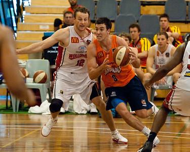 Brad Hill, Glen Saville - Cairns Taipans v Wollongong Hawks - Sunshine State Challenge Pre-season NBL Basketball, Southport School, Gold Coast, Queensland, Australia; 22 September 2011. Photos by Des Thureson:  http://disci.smugmug.com.