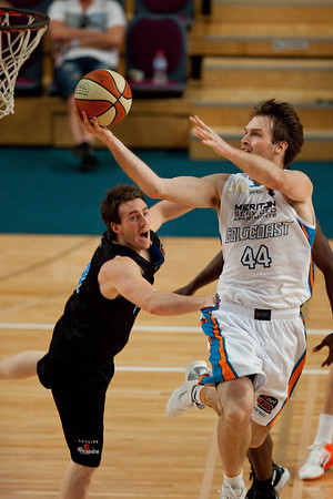 Mark Worthington, Daryl Corletto - Gold Coast Blaze v New Zealand Breakers - Finals Day, Sunshine State Challenge Pre-season NBL Basketball, Chandler, Brisbane, Queensland, Australia; Saturday 24 September 2011. Photos by Des Thureson:  http://disci.smugmug.com.