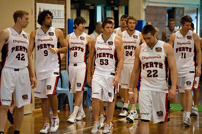 Brad Robbins, Cameron Tovey, Damian Martin, Greg Hire, Jesse Wagstaff, Matthew Knight, Shawn Redhage - Melbourne Tigers v Perth Wildcats - Sunshine State Challenge Pre-season NBL Basketball, Southport School, Gold Coast, Queensland, Australia; 22 September 2011. Photos by Des Thureson:  http://disci.smugmug.com.