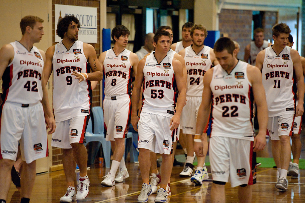 "Brad Robbins, Cameron Tovey, Damian Martin, Greg Hire, Jesse Wagstaff, Matthew Knight, Shawn Redhage - Melbourne Tigers v Perth Wildcats - Sunshine State Challenge Pre-season NBL Basketball, Southport School, Gold Coast, Queensland, Australia; 22 September 2011. Photos by Des Thureson:  <a href=""http://disci.smugmug.com"">http://disci.smugmug.com</a>."