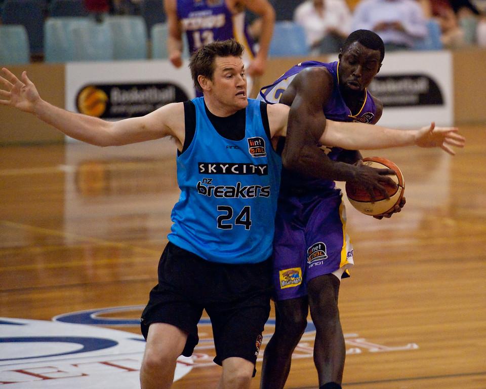 "Dillon Boucher, Jerai Grant - Sydney Kings v New Zealand Breakers - Sunshine State Challenge Pre-season NBL Basketball, Southport School, Gold Coast, Queensland, Australia; 22 September 2011. Photos by Des Thureson:  <a href=""http://disci.smugmug.com"">http://disci.smugmug.com</a>."