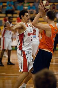 Oscar Foreman, Jeff Dowdell - Cairns Taipans v Wollongong Hawks - Sunshine State Challenge Pre-season NBL Basketball, Southport School, Gold Coast, Queensland, Australia; 22 September 2011. Photos by Des Thureson:  http://disci.smugmug.com.