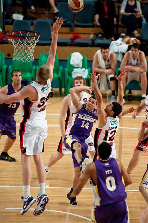 "Luke Nevill, Luke Cooper, Kenin Lisch - Grand Final: Perth Wildcats v Sydney Kings - Finals Day, Sunshine State Challenge Pre-season NBL Basketball, Chandler, Brisbane, Queensland, Australia; Saturday 24 September 2011. Photos by Des Thureson:  <a href=""http://disci.smugmug.com"">http://disci.smugmug.com</a>."