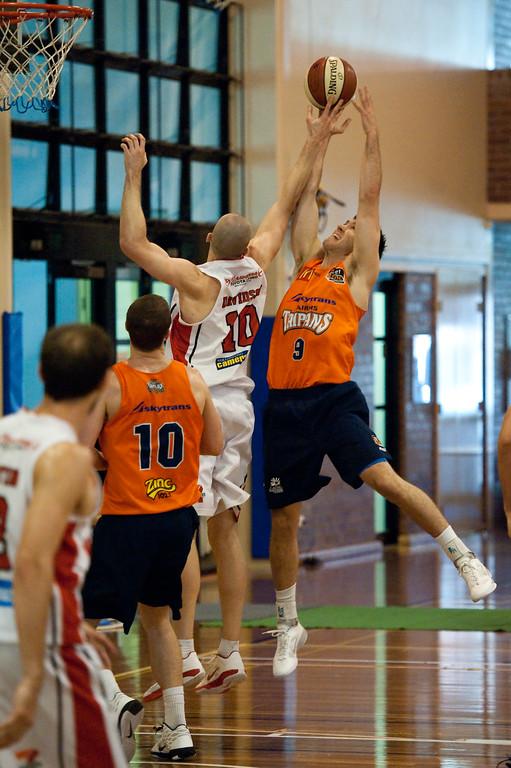 "Brad Hill, Larry Davidson - Cairns Taipans v Wollongong Hawks - Sunshine State Challenge Pre-season NBL Basketball, Southport School, Gold Coast, Queensland, Australia; 22 September 2011. Photos by Des Thureson:  <a href=""http://disci.smugmug.com"">http://disci.smugmug.com</a>."