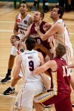 Kerry Williams, Ash Cannon, Ian Crosswhite, Andrew Warren - Cairns Taipans v SEQ All Stars - Finals Day, Sunshine State Challenge Pre-season NBL Basketball, Chandler, Brisbane, Queensland, Australia; Saturday 24 September 2011. Photos by Des Thureson:  http://disci.smugmug.com.