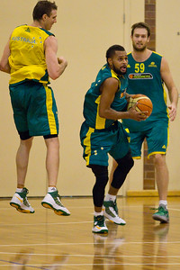 Patty Mills hoping for a buzzer beater - Boomers - Australian Men's Basketball Team Open Training Session, The Southport School, Gold Coast, Queensland, Australia; 12 July 2012. Photos by Des Thureson:  http://disci.smugmug.com. Patrick Mills.