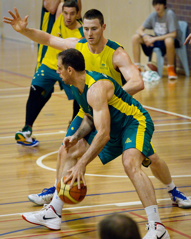 "Aleks Marić, Aron Baynes - Boomers - Australian Men's Basketball Team Open Training Session, The Southport School, Gold Coast, Queensland, Australia; 12 July 2012. Photos by Des Thureson:  <a href=""http://disci.smugmug.com"">http://disci.smugmug.com</a>."