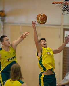 Damian Martin, Aron Baynes - Boomers - Australian Men's Basketball Team Open Training Session, The Southport School, Gold Coast, Queensland, Australia; 12 July 2012. Photos by Des Thureson:  http://disci.smugmug.com.