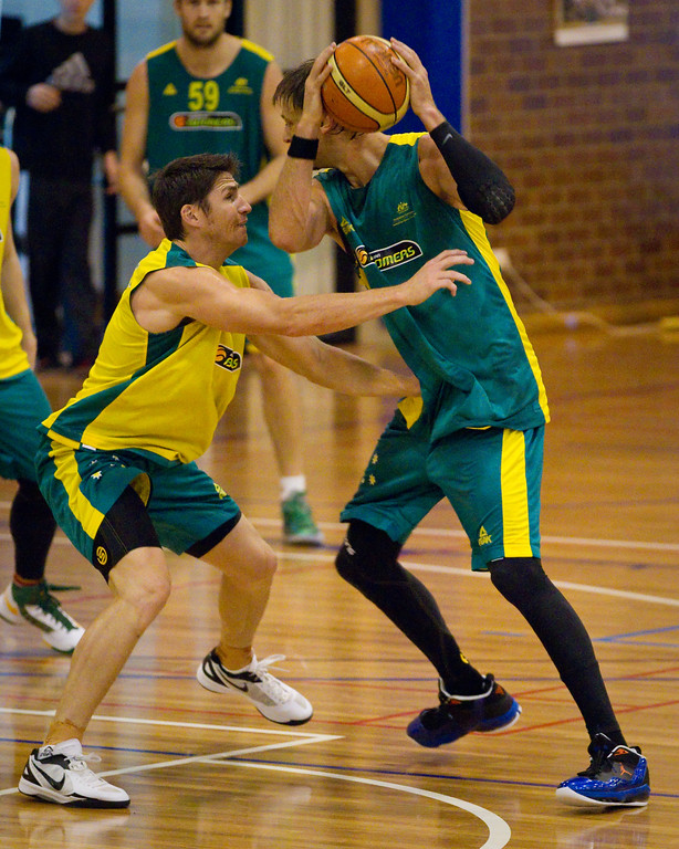 "Damian Martin, David Andersen - Boomers - Australian Men's Basketball Team Open Training Session, The Southport School, Gold Coast, Queensland, Australia; 12 July 2012. Photos by Des Thureson:  <a href=""http://disci.smugmug.com"">http://disci.smugmug.com</a>."