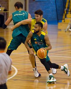 Patty Mills, Damian Martin - Boomers - Australian Men's Basketball Team Open Training Session, The Southport School, Gold Coast, Queensland, Australia; 12 July 2012. Photos by Des Thureson:  http://disci.smugmug.com. Patrick Mills.