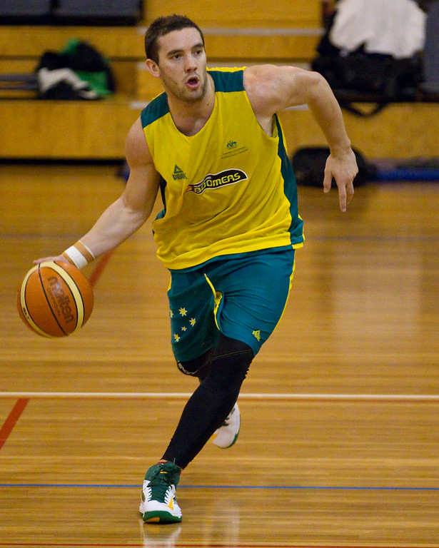 "Adam Gibson - Boomers - Australian Men's Basketball Team Open Training Session, The Southport School, Gold Coast, Queensland, Australia; 12 July 2012. Photos by Des Thureson:  <a href=""http://disci.smugmug.com"">http://disci.smugmug.com</a>. Gibbo."