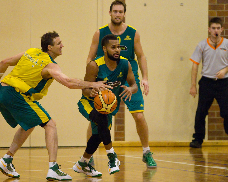 "Patty Mills hoping for a buzzer beater - Boomers - Australian Men's Basketball Team Open Training Session, The Southport School, Gold Coast, Queensland, Australia; 12 July 2012. Photos by Des Thureson:  <a href=""http://disci.smugmug.com"">http://disci.smugmug.com</a>. Patrick Mills."