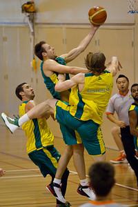 Brad Newley, David Barlow - Boomers - Australian Men's Basketball Team Open Training Session, The Southport School, Gold Coast, Queensland, Australia; 12 July 2012. Photos by Des Thureson:  http://disci.smugmug.com.