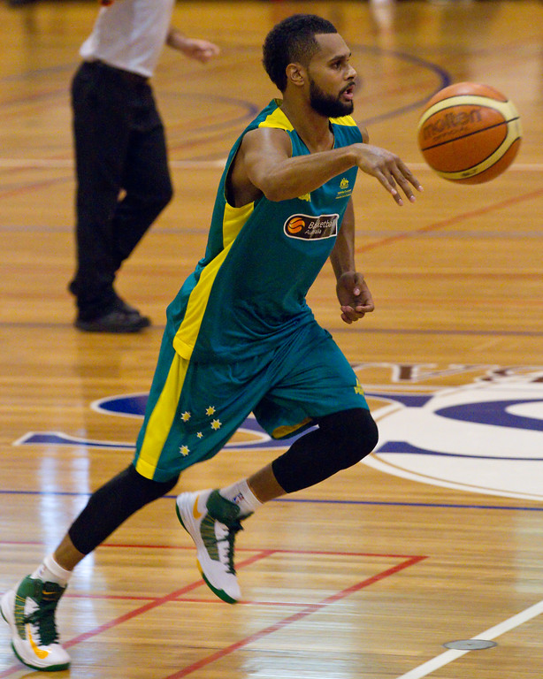 "Patty Mills - Boomers - Australian Men's Basketball Team Open Training Session, The Southport School, Gold Coast, Queensland, Australia; 12 July 2012. Photos by Des Thureson:  <a href=""http://disci.smugmug.com"">http://disci.smugmug.com</a>. Patrick Mills."