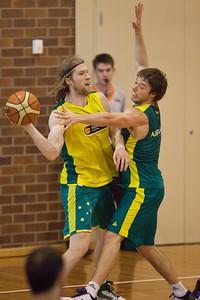 David Barlow, Mathew Dellavedova - Boomers - Australian Men's Basketball Team Open Training Session, The Southport School, Gold Coast, Queensland, Australia; 12 July 2012. Photos by Des Thureson:  http://disci.smugmug.com.
