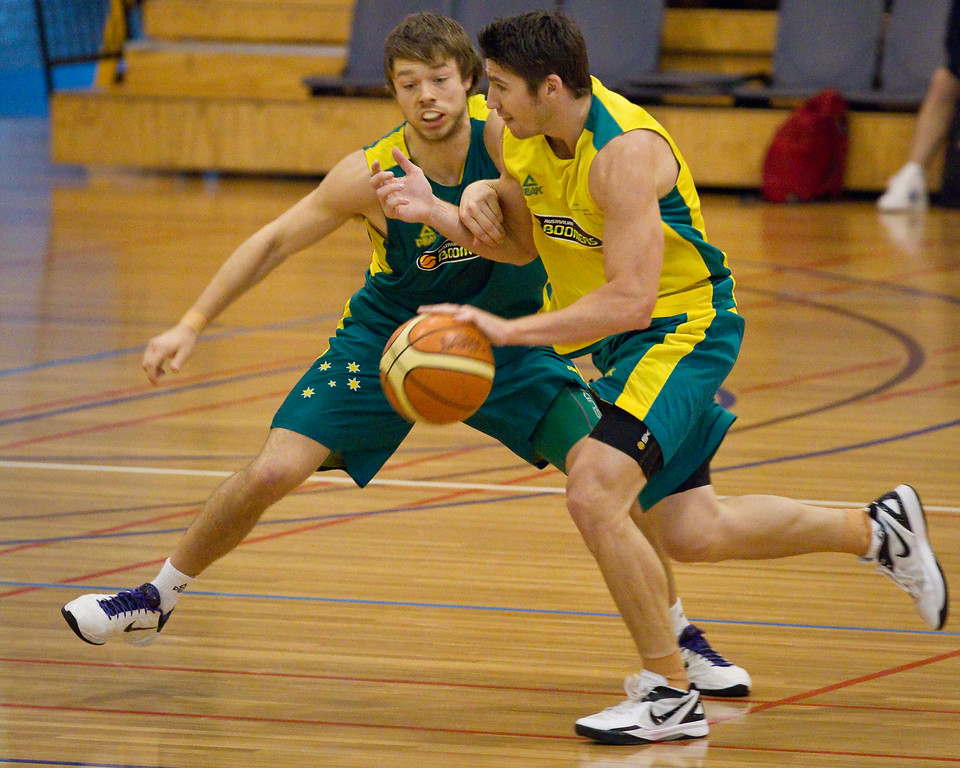 "Matthew Dellavedova, Damian Martin - Boomers - Australian Men's Basketball Team Open Training Session, The Southport School, Gold Coast, Queensland, Australia; 12 July 2012. Photos by Des Thureson:  <a href=""http://disci.smugmug.com"">http://disci.smugmug.com</a>."