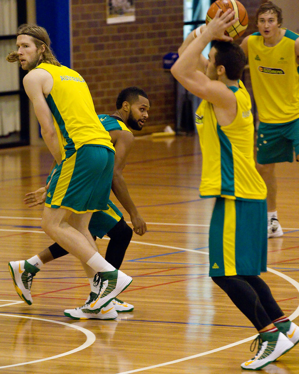 "David Barlow sets the screen on Patty Mills for Adam Gibson to get the open shot - Boomers - Australian Men's Basketball Team Open Training Session, The Southport School, Gold Coast, Queensland, Australia; 12 July 2012. Photos by Des Thureson:  <a href=""http://disci.smugmug.com"">http://disci.smugmug.com</a>."