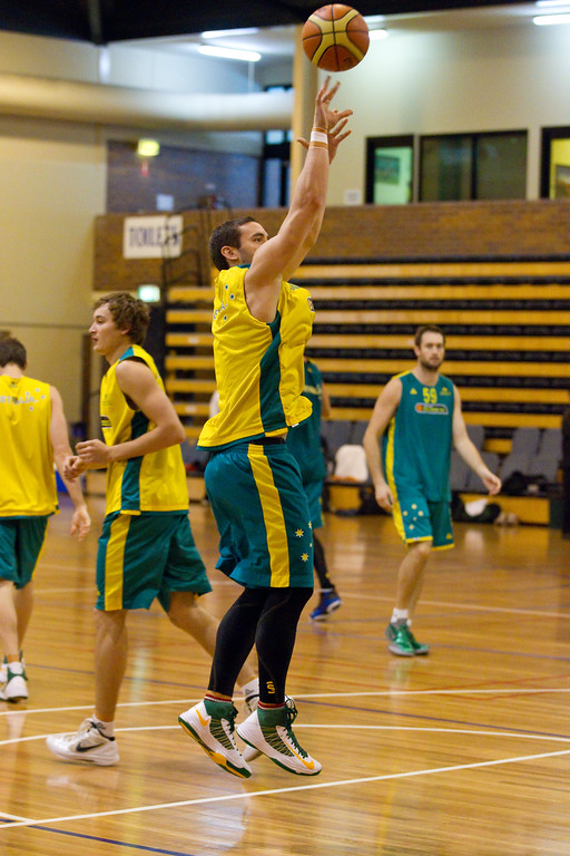 "Adam Gibson - Gibbo - Boomers - Australian Men's Basketball Team Open Training Session, The Southport School, Gold Coast, Queensland, Australia; 12 July 2012. Photos by Des Thureson:  <a href=""http://disci.smugmug.com"">http://disci.smugmug.com</a>."