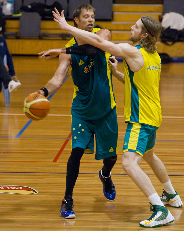"David Andersen, David Barlow - Boomers - Australian Men's Basketball Team Open Training Session, The Southport School, Gold Coast, Queensland, Australia; 12 July 2012. Photos by Des Thureson:  <a href=""http://disci.smugmug.com"">http://disci.smugmug.com</a>."