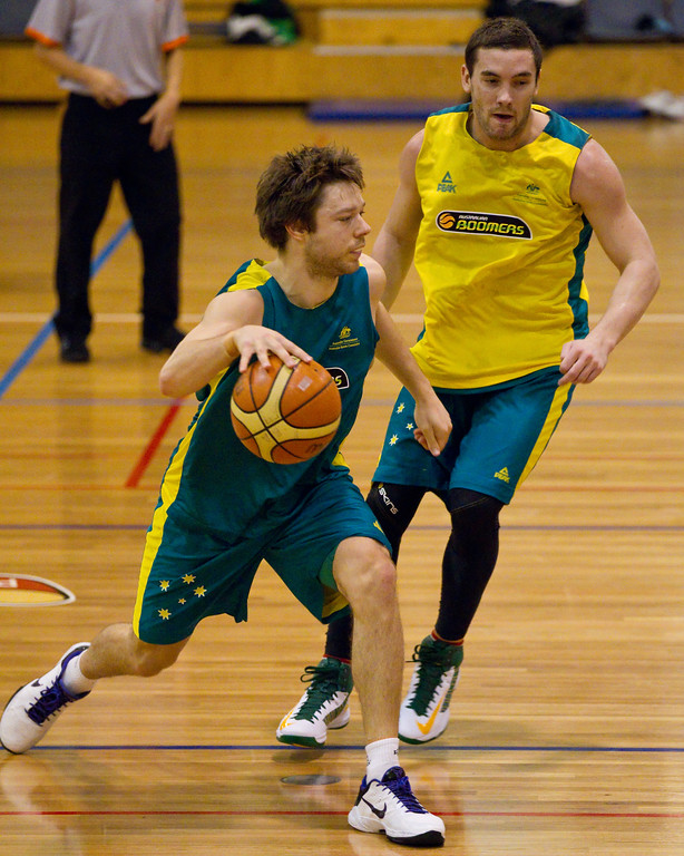 "Matthew Dellavedova, Adam Gibson - Boomers - Australian Men's Basketball Team Open Training Session, The Southport School, Gold Coast, Queensland, Australia; 12 July 2012. Photos by Des Thureson:  <a href=""http://disci.smugmug.com"">http://disci.smugmug.com</a>. Gibbo."