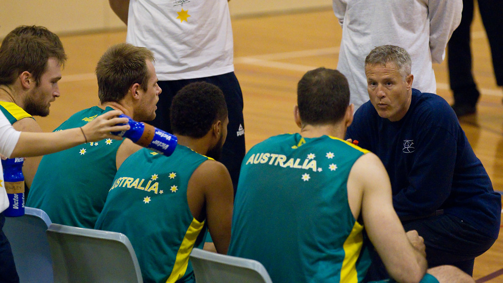 "Boomers' Head Coach (Assistant Coach of the San Antonio Spurs in the NBA) Brett Brown - Boomers - Australian Men's Basketball Team Open Training Session, The Southport School, Gold Coast, Queensland, Australia; 12 July 2012. Photos by Des Thureson:  <a href=""http://disci.smugmug.com"">http://disci.smugmug.com</a>."
