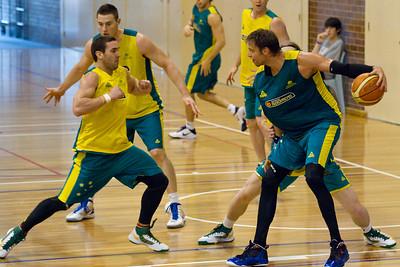 Adam Gibson, David Andersen - Boomers - Australian Men's Basketball Team Open Training Session, The Southport School, Gold Coast, Queensland, Australia; 12 July 2012. Photos by Des Thureson:  http://disci.smugmug.com.