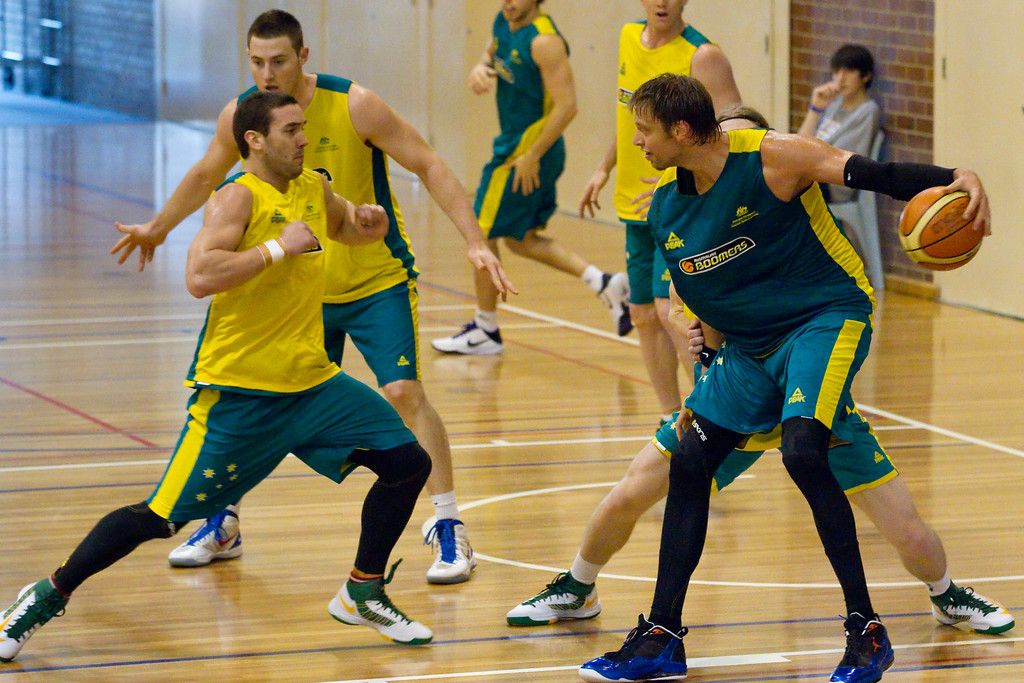 "Adam Gibson, David Andersen - Boomers - Australian Men's Basketball Team Open Training Session, The Southport School, Gold Coast, Queensland, Australia; 12 July 2012. Photos by Des Thureson:  <a href=""http://disci.smugmug.com"">http://disci.smugmug.com</a>."
