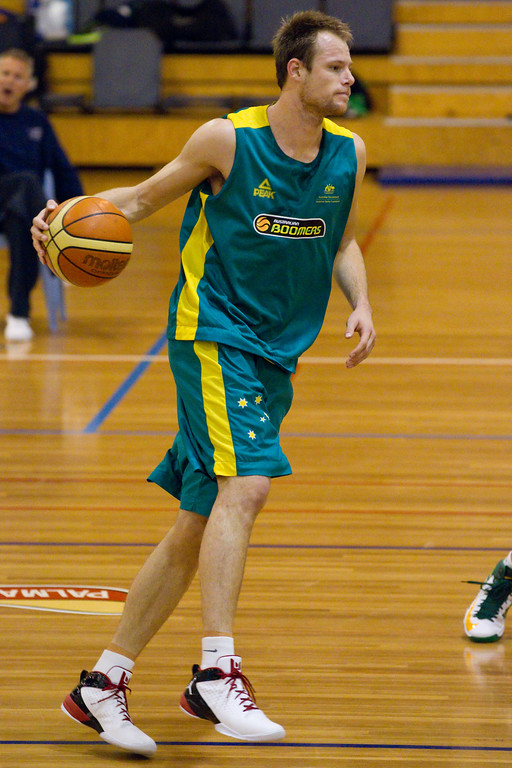 "Brad Newley - Boomers - Australian Men's Basketball Team Open Training Session, The Southport School, Gold Coast, Queensland, Australia; 12 July 2012. Photos by Des Thureson:  <a href=""http://disci.smugmug.com"">http://disci.smugmug.com</a>."