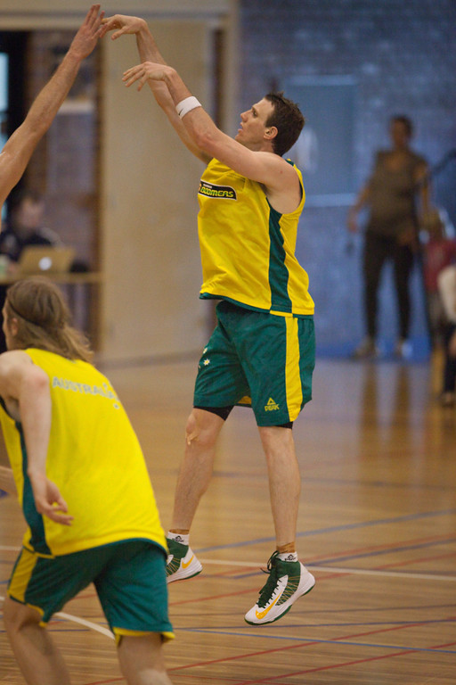 "Peter Crawford - Boomers - Australian Men's Basketball Team Open Training Session, The Southport School, Gold Coast, Queensland, Australia; 12 July 2012. Photos by Des Thureson:  <a href=""http://disci.smugmug.com"">http://disci.smugmug.com</a>."