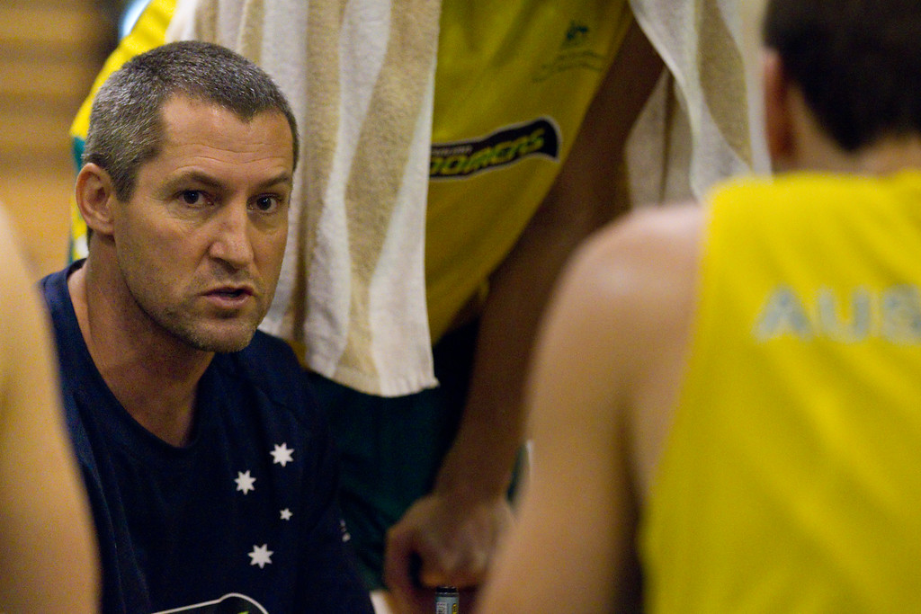 "Boomers Assistant Coach & Head Coach of the Adelaide 36ers, Marty Clarke - Boomers - Australian Men's Basketball Team Open Training Session, The Southport School, Gold Coast, Queensland, Australia; 12 July 2012. Photos by Des Thureson:  <a href=""http://disci.smugmug.com"">http://disci.smugmug.com</a>."