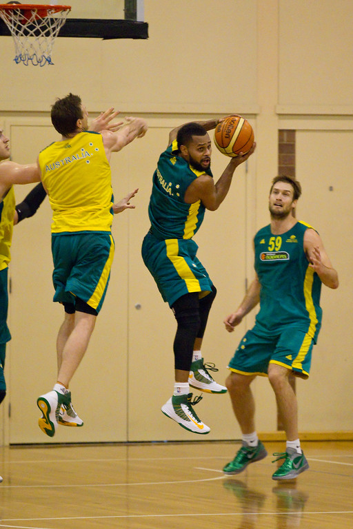 "Patty Mills rebounding & hoping for a buzzer beater - Boomers - Australian Men's Basketball Team Open Training Session, The Southport School, Gold Coast, Queensland, Australia; 12 July 2012. Photos by Des Thureson:  <a href=""http://disci.smugmug.com"">http://disci.smugmug.com</a>."