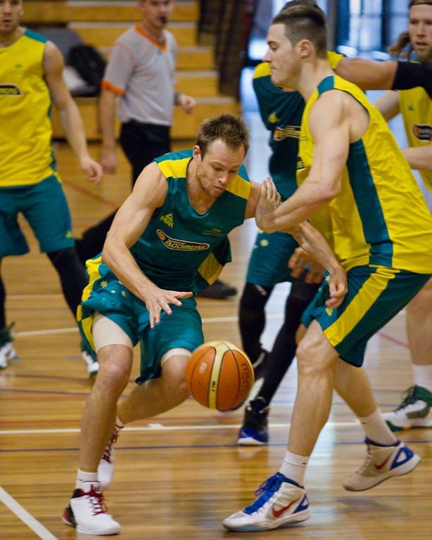 "Brad Newley, Aron Baynes - Boomers - Australian Men's Basketball Team Open Training Session, The Southport School, Gold Coast, Queensland, Australia; 12 July 2012. Photos by Des Thureson:  <a href=""http://disci.smugmug.com"">http://disci.smugmug.com</a>."