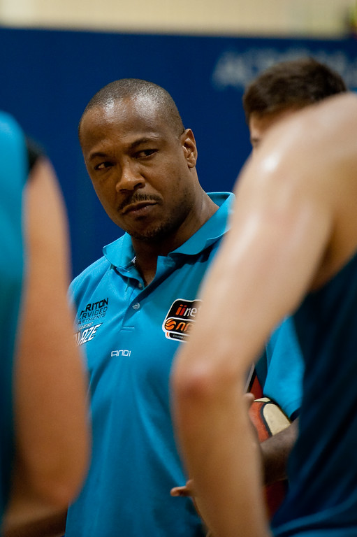 """Blaze Head Coach Joey Wright leads and listens - Gold Coast Blaze Basketball Open Training Session; Boondall, Brisbane, Queensland, Australia; 18 February 2012. Photos by Des Thureson - <a href=""""http://disci.smugmug.com"""">http://disci.smugmug.com</a>."""