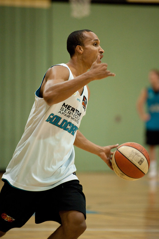 "Adris Deleon - Gold Coast Blaze Basketball Open Training Session; Boondall, Brisbane, Queensland, Australia; 18 February 2012. Photos by Des Thureson - <a href=""http://disci.smugmug.com"">http://disci.smugmug.com</a>."