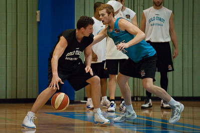 Stephen Hoare, Tom Garlepp - Gold Coast Blaze Basketball Open Training Session; Boondall, Brisbane, Queensland, Australia; 18 February 2012. Photos by Des Thureson - http://disci.smugmug.com.