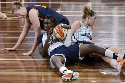 Alice Honnery, Blanche Alverson, Cabriana Capers - Logan Thunder v Auburn University Tigers Women's Basketball; Auchenflower, Brisbane, Queensland, Australia; 07 August 2012. Photos by Des Thureson - http://disci.smugmug.com.