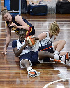Alice Honnery, Blanche Alverson, Cabriana Capers - Logan Thunder v Auburn University Tigers Women's Basketball; Auchenflower, Brisbane, Queensland, Australia; 07 August 2012. Photos by Des Thureson - http://disci.smugmug.com.