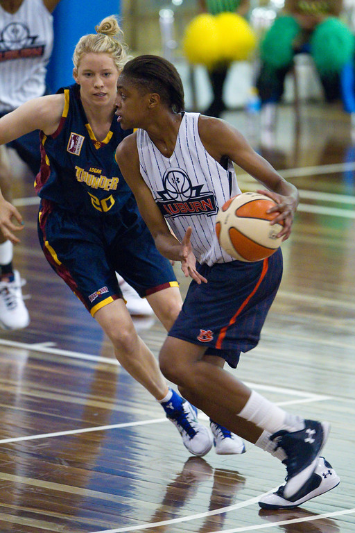"Izzy Chilcott, Hasina Muhammed - Logan Thunder v Auburn University Tigers Women's Basketball; Auchenflower, Brisbane, Queensland, Australia; 07 August 2012. Photos by Des Thureson - <a href=""http://disci.smugmug.com"">http://disci.smugmug.com</a>."