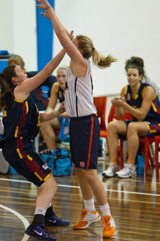 "Blanche Alverson, Hayley Munro - Logan Thunder v Auburn University Tigers Women's Basketball; Auchenflower, Brisbane, Queensland, Australia; 07 August 2012. Photos by Des Thureson - <a href=""http://disci.smugmug.com"">http://disci.smugmug.com</a>."