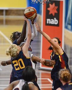 Cabriana Capers, Izzy Chilcott, Rachel Pryor - Logan Thunder v Auburn University Tigers Women's Basketball; Auchenflower, Brisbane, Queensland, Australia; 07 August 2012. Photos by Des Thureson - http://disci.smugmug.com.