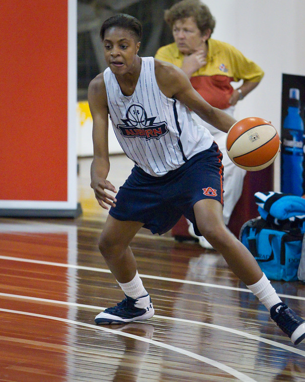 "Hasina Muhammed - Logan Thunder v Auburn University Tigers Women's Basketball; Auchenflower, Brisbane, Queensland, Australia; 07 August 2012. Photos by Des Thureson - <a href=""http://disci.smugmug.com"">http://disci.smugmug.com</a>."