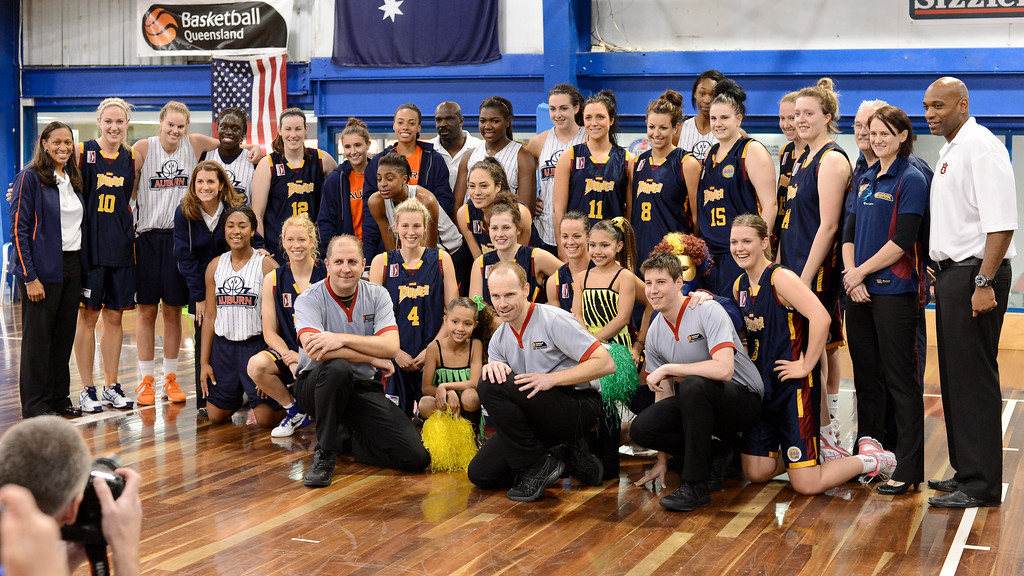 "Team Photo - Logan Thunder v Auburn University Tigers Women's Basketball; Auchenflower, Brisbane, Queensland, Australia; 07 August 2012. Photos by Des Thureson - <a href=""http://disci.smugmug.com"">http://disci.smugmug.com</a>."