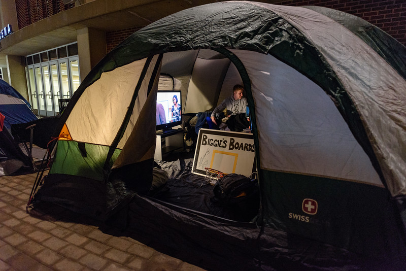 Members of the Paint Crew camp outside of Mackey Arena the night before the game to hold their spots in line.
