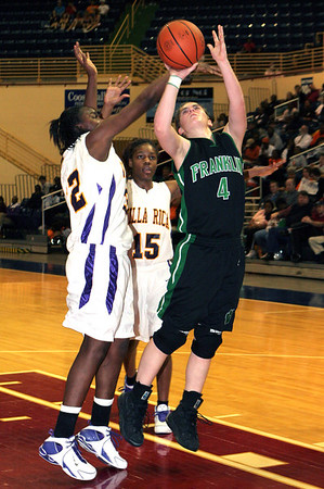 Franklin's #4 Ashley Harris in for the layup & Villa Rica #32  Icu Kelley and #15 Sal Cosby defending